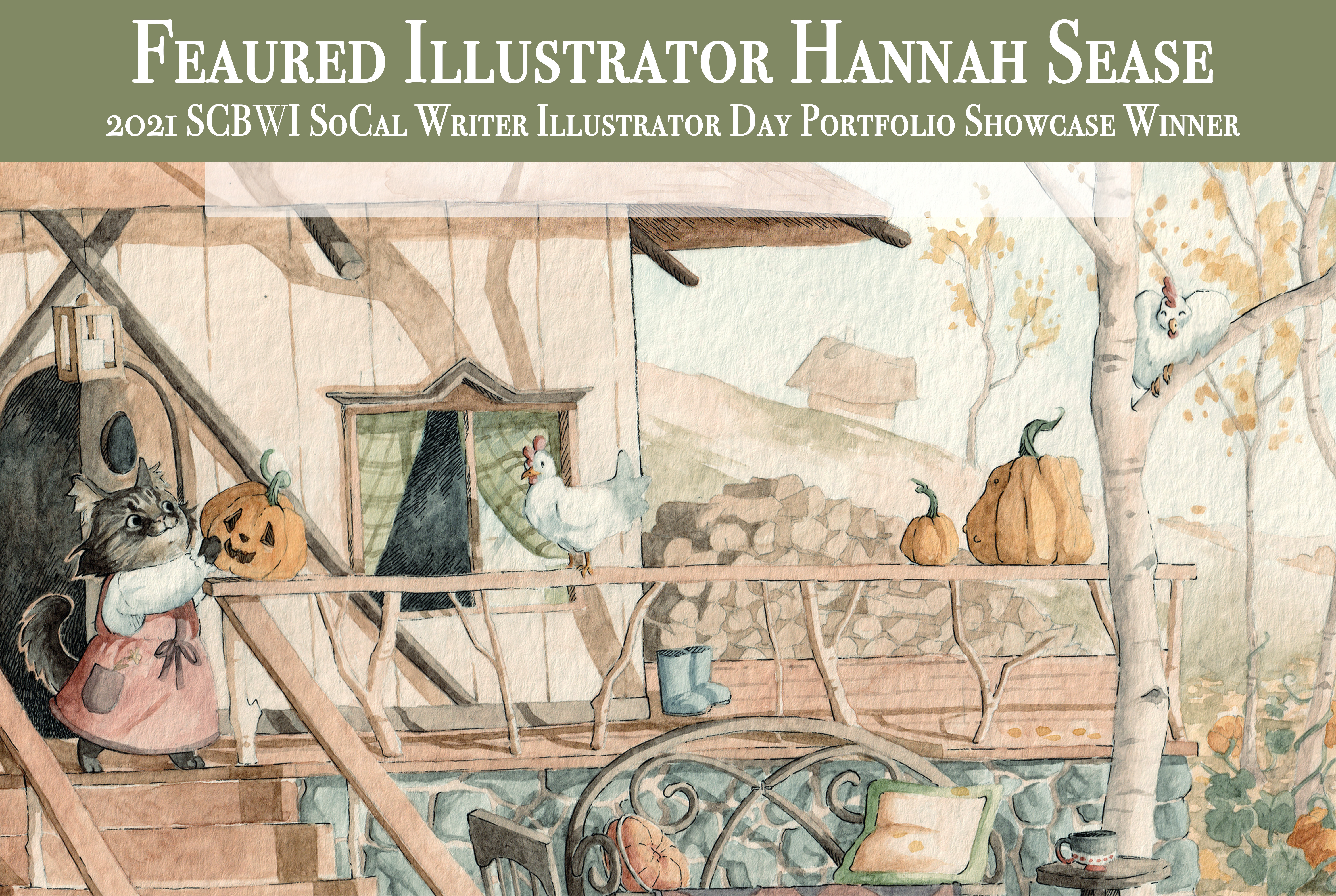 Hannah Sease is especially fond of drawing animals and comfortable furniture, usually together. Much of her time is spent seeking coziness in all its many forms; from campfires to chicken pot pie, to a nap on the couch, a quality that has also found its way into her art through themes of folklore and rural aesthetics. Stemming from a childhood of reading Beatrix Potter, exploring holes under rotten trees, and keeping a roadkill journal, Hannah enjoys being outdoors camping, biking, swimming, and collecting ideas for her art through woodsy adventures. A good adventure calls for a return to home, a familiar hearth, and a cup of tea, a balance that inspires and focuses much of Hannah's work. Nurtured by her younger years spent living around the world with her family, she has garnered a fascination for what we define as home and finding ways to feel at home anywhere. You can visit her atwww.hannahsease.comor on her Instagram @hannahsease.art